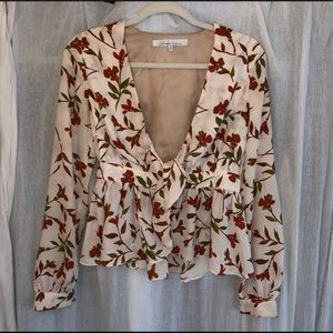 Lovers + Friends floral silk tie front crop top S